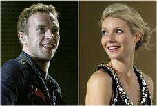 """A combination photo of singer Chris Martin of Coldplay performing during a concert as part of their """"Viva La Vida"""" tour in Barcelona September 4, 2009 and actress Gwyneth Paltrow posing during the premiere of her film """"Iron Man"""" in Berlin April 22, 2008. REUTERS/Gustau Nacarino/Johannes Eisele"""