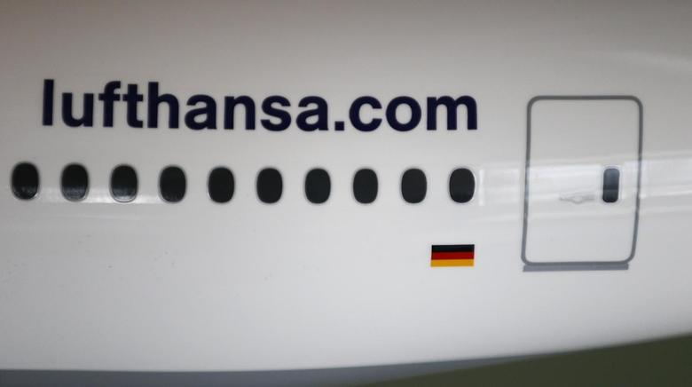 The web address of German air carrier Lufthansa AG is seen on a scale model of a Boing 777 aircraft during the company's annual news conference in Frankfurt, March 13 2014. REUTERS/Kai Pfaffenbach