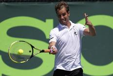 Mar 21, 2014; Miami, FL, USA; Richard Gasquet hits a forehand against Alejandro Gonzalez (not pictured) on day five of the Sony Open at Crandon Tennis Center. Geoff Burke-USA TODAY Sports