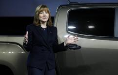 Mary Barra, incoming CEO of General Motors Co., reveals the 2015 GMC Canyon pickup truck in an industrial building in advance of the media preview of the North American International Auto Show in Detroit, Michigan January 12, 2014. REUTERS/Rebecca Cook