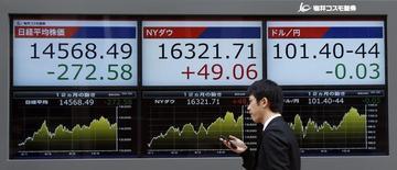 Мужчина проходит мимо экранов, отображающих колебания индексов Nikkei, Dow Jones и курс пары иена/доллар в Токио 3 марта 2014 года. Азиатские фондовые рынки, кроме Японии, выросли во вторник за счет китайской статистки и роста отдельных отраслей. REUTERS/Issei Kato
