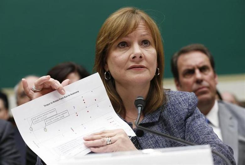 General Motors (GM) Chief Executive Mary Barra displays a document as she testifies before a House Energy and Commerce Committee hearing on GM's recall of defective ignition switches, on Capitol Hill in Washington April 1, 2014. REUTERS/Kevin Lamarque