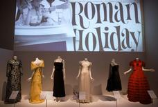"Dresses worn in films are seen displayed during a media preview of the ""The Glamour of Italian Fashion 1945-2014"" exhibition, at the Victoria and Albert Museum in London April 2, 2014. REUTERS/Neil Hall"