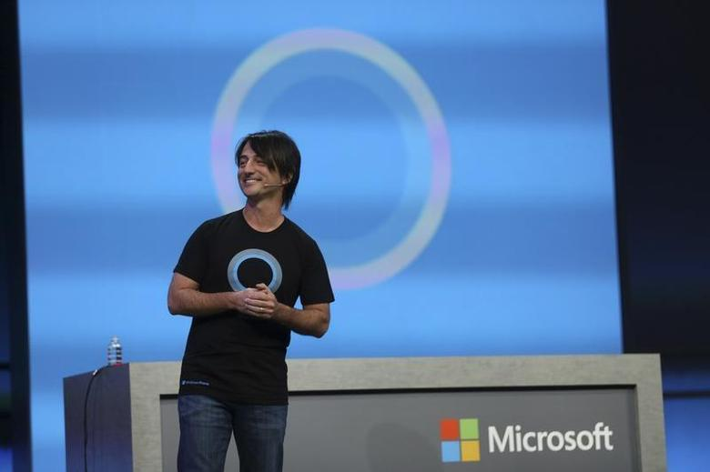 Joe Belfiore, vice president of the operating system group at Microsoft, introduces Cortana, included in the new 8.1 operating system update that is a personal digital assistant, during the company's ''build'' conference in San Francisco, California April 2, 2014. REUTERS/Robert Galbraith