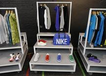 Products are seen on display inside the temporary Nike store in Shoreditch, East London April 30, 2009. REUTERS/Stephen Hird