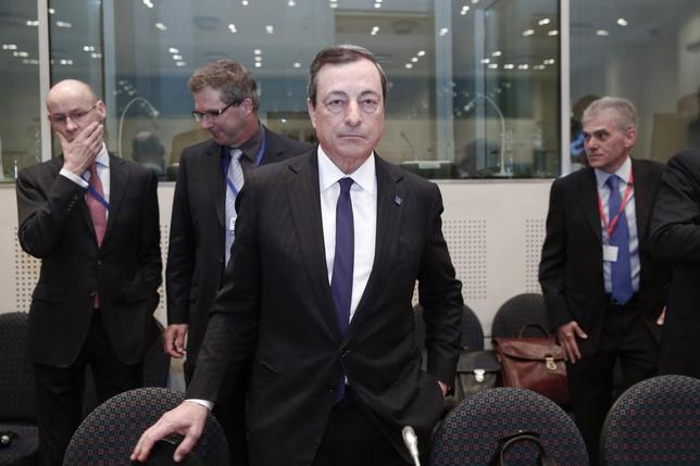 European Central Bank (ECB) President Mario Draghi takes his seat ahead of an European Union Finance Ministers informal meeting in Athens April 1, 2014. REUTERS/Yorgos Karahalis