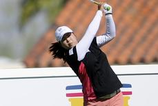 Apr 3, 2014; Rancho Mirage, CA, USA; Shanshan Feng on the ninth hole in the first round of the Kraft Nabisco Championship golf tournament at Mission Hills Country Club. Kelvin Kuo-USA TODAY Sports