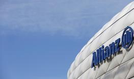 The logo of Europe's biggest insurer Allianz SE is pictured at the Allianz Arena soccer stadium in Munich February 26, 2014. REUTERS/Michaela Rehle