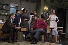 """A scene from the play """"A Raisin in the Sun"""" by Lorraine Hansberry is pictured in this undated handout photo courtesy of Brigitte Lacombe. From left, the cast are: David Cromer, Bryce Clyde Jenkins, LaTanya Richardson Jackson, Anika Noni Rose, Denzel Washington, and Sophie Okonedo. REUTERS/Brigitte Lacombe/Handout via Reuters"""