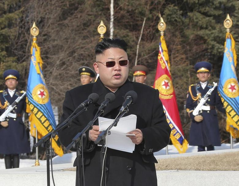 North Korean leader Kim Jong Un addresses commanding officers of the combined units of the Korean People's Army (KPA) in this undated photo released by North Korea's Korean Central News Agency (KCNA) in Pyongyang April 2, 2014. REUTERS/KCNA