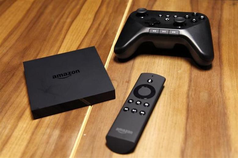 The Amazon Fire TV set is seen on a table after a news conference in New York, April 2, 2014. REUTERS/Eduardo Munoz