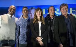 """(From L to R) Cast members Terry Crews, Chadwick Boseman, Jennifer Garner, Kevin Costner and Denis Leary pose at a news conference for the film """"Draft Day"""" in New York January 31, 2014. REUTERS/Andrew Kelly"""