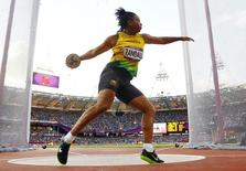 Jamaica's Allison Randall competes during her women's discus throw Group A qualification at the London 2012 Olympic Games at the Olympic Stadium August 3, 2012. REUTERS/Kai Pfaffenbach