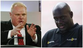 A combination photo shows Mayor Rob Ford (L) of Toronto during a Toronto Mayoral election debate in Toronto, Ontario on March 26, 2014 and Sprinter Ben Johnson (R) of Canada during his visit to Seoul on September 24, 2013 respectively. REUTERS/Lee Jae-Won/Files