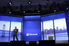"Microsoft CEO Satya Nadella gestures during his keynote address at the company's ""build"" conference in San Francisco, California April 2, 2014. REUTERS/Robert Galbraith"