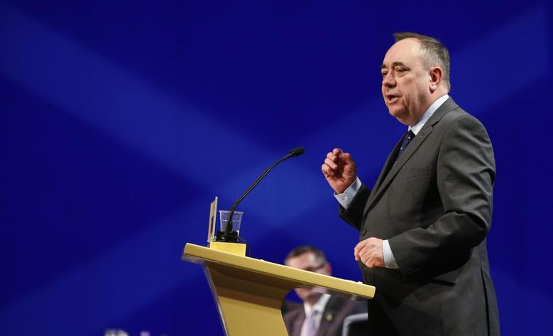 Scotland's First Minister Alex Salmond speaks at the SNP Spring Conference in Aberdeen, Scotland April 11, 2014. REUTERS/Russell Cheyne