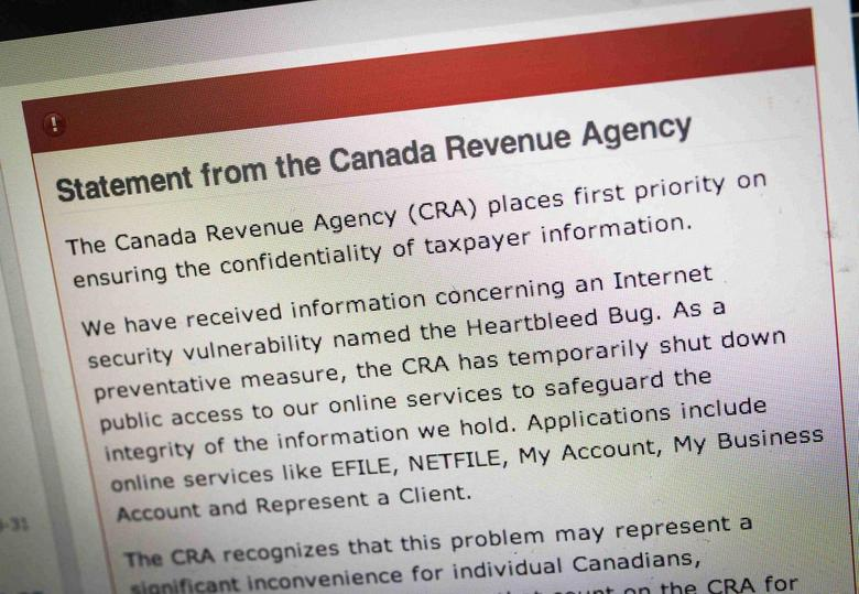 The Canada Revenue Agency website is seen on a computer screen displaying information about an internet security vulnerability called the ''Heartbleed Bug'' in Toronto, April 9, 2014. REUTERS/Mark Blinch