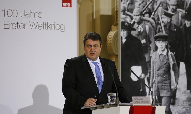 German Economy Minister and head of the Social Democratic Party (SPD) Sigmar Gabriel addresses a ceremony, held by the SPD, to mark the 100th anniversary of the start of World War One, at the French cathedral in Berlin, April 14, 2014. REUTERS/Fabrizio Bensch