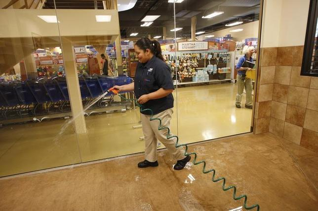 Vanessa Espinosa sanitizes a dog play room at a PetSmart PetsHotel and Doggie Day Camp in Los Angeles, California, May 14, 2012. REUTERS/David McNew