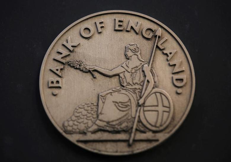The logo is seen at the Bank of England in the City of London January 16, 2014. REUTERS/Luke MacGregor