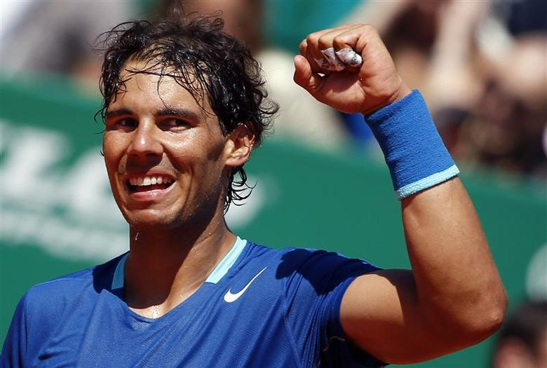 Rafael Nadal of Spain reacts after defeating Andreas Seppi of Italy during the Monte Carlo Masters in Monaco April 17, 2014. REUTERS/Eric Gaillard