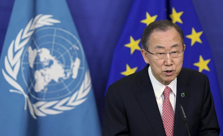 United Nations Secretary General Ban Ki-moon talks to the media after meeting European Commission President Jose Manuel Barroso (unseen) at the EU Commission headquarters in Brussels April 2, 2014. REUTERS/Francois Lenoir