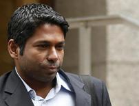 Rengan Rajaratnam, the younger brother of imprisoned hedge fund manager Raj Rajaratnam, departs Manhattan Federal Court in New York, March 25, 2013. REUTERS/Brendan McDermid