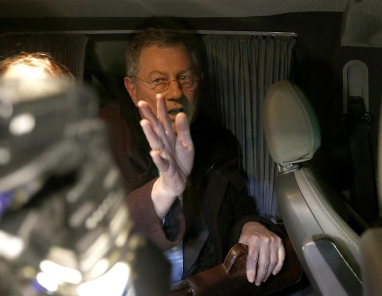UN special envoy Robert Serry gestures as he leaves in a car in Simferopol March 5, 2014. REUTERS/Vasily Fedosenko