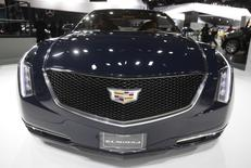 The grille of the Cadillac Elmiraj concept car as the vehicle is displayed during the press preview day of the North American International Auto Show in Detroit, Michigan January 14, 2014. REUTERS/Rebecca Cook