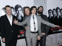 """(L-R) Executive producer Alec Berg and cast members T.J. Miller, Josh Brener and Martin Starr attend the Los Angeles premiere for the new HBO comedy series """"Silicon Valley"""" at Paramount Studios in Hollywood, California April 3, 2014. REUTERS/Kevork Djansezian"""