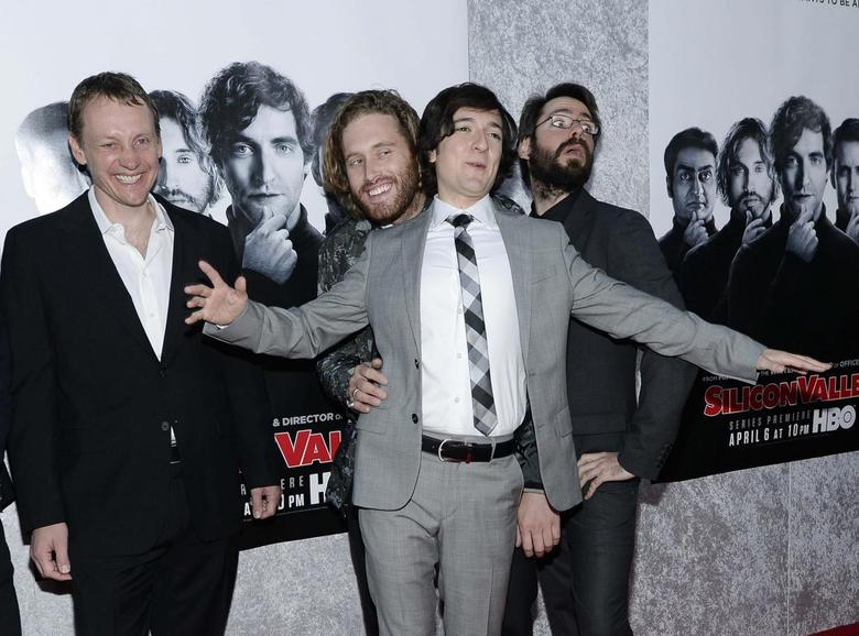 (L-R) Executive producer Alec Berg and cast members T.J. Miller, Josh Brener and Martin Starr attend the Los Angeles premiere for the new HBO comedy series ''Silicon Valley'' at Paramount Studios in Hollywood, California April 3, 2014. REUTERS/Kevork Djansezian