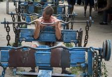 A man lifts weights as he trains at the Kachalka outdoor gym on the banks of river Dniper in Kiev June 27, 2013. REUTERS/Gleb Garanich