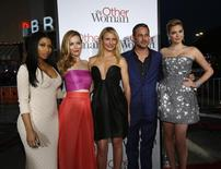 """Cast members (from L-R) Nicki Minaj, Leslie Mann, Cameron Diaz, Taylor Kinney and Kate Upton pose at the premiere of the film """"The Other Woman"""" in Los Angeles, California April 21, 2014. REUTERS/Mario Anzuoni"""