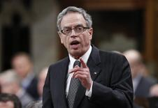 Canada's Finance Minister Joe Oliver speaks during Question Period in the House of Commons on Parliament Hill in Ottawa April 29, 2014. REUTERS/Chris Wattie