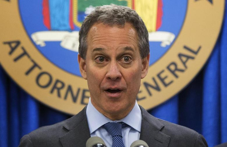 New York Attorney General Eric Schneiderman speaks at a news conference in a file photo. REUTERS/Lucas Jackson/Files