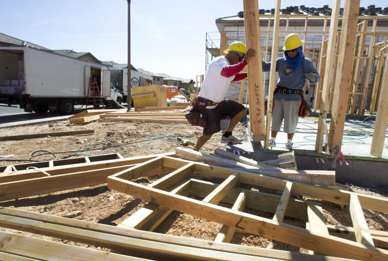 Carpenters frame a home at a residential construction site in the west side of the Las Vegas Valley in Las Vegas, Nevada April 5, 2013. REUTERS/Steve Marcus
