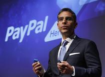 El presidente de PayPal, David Marcus, en declaraciones durante una conferencia de prensa en Tokio. 9 de mayo, 2012. REUTERS/Yuriko Nakao