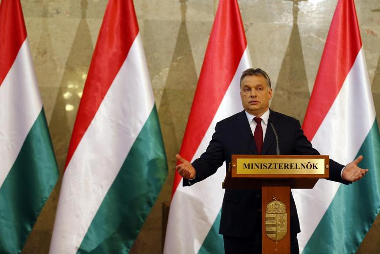 Hungary's Prime Minister Viktor Orban addresses a news conference after parliamentary elections in Budapest April 7, 2014. REUTERS/Laszlo Balogh