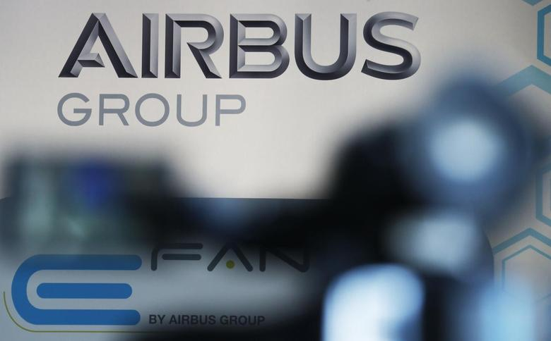 The logo of Airbus Group is seen during the first public flight of an E-Fan aircraft during the e-Aircraft Day at the Bordeaux Merignac airport, southwestern France, April 25, 2014. REUTERS/Regis Duvignau