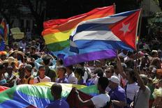 People take part in a gay pride parade during an event ahead of International Day Against Homophobia in Havana May 10, 2014.   REUTERS/Jorge Luis Banos