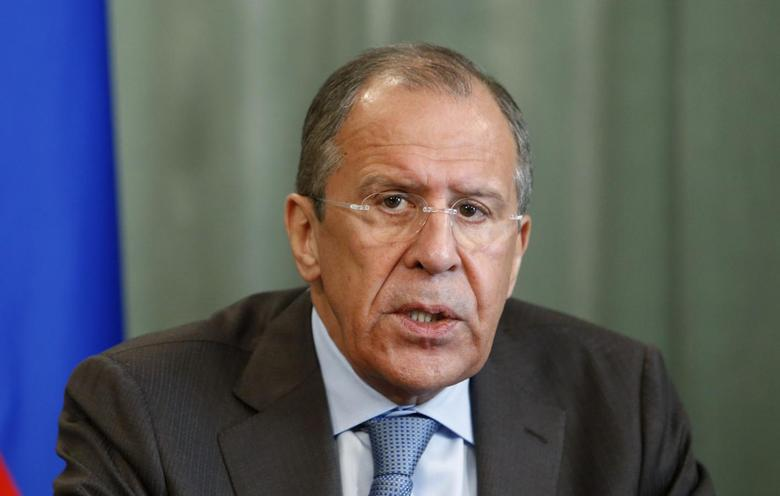 Russia's Foreign Minister Sergei Lavrov speaks during a news conference after a meeting with his Ugandan counterpart Sam Kutesa (not pictured) in Moscow, May 12, 2014. REUTERS/Sergei Karpukhin