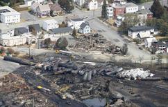 The remains of a burnt train are seen in Lac Megantic, July 8, 2013. REUTERS/Mathieu Belanger