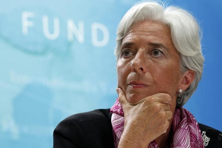 IMF managing director Christine Lagarde holds a news briefing at the International Monetary Fund headquarters in Washington July 6, 2011. REUTERS/Kevin Lamarque