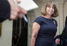 Jill Abramson, executive editor of The New York Times, arrives for the State Dinner held for French President Francois Hollande at the White House in Washington February 11, 2014. REUTERS/Joshua Roberts
