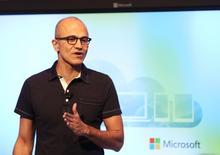 Microsoft CEO Satya Nadella speaks at a Microsoft event in San Francisco, California March 27, 2014. REUTERS/Robert Galbraith