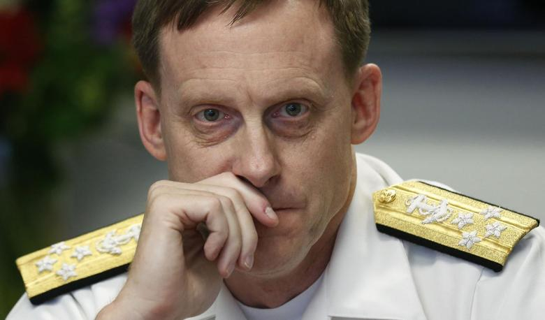 NSA Director Adm. Michael Rogers listens at a Reuters CyberSecurity Summit in Washington, May 12, 2014. REUTERS/Larry Downing