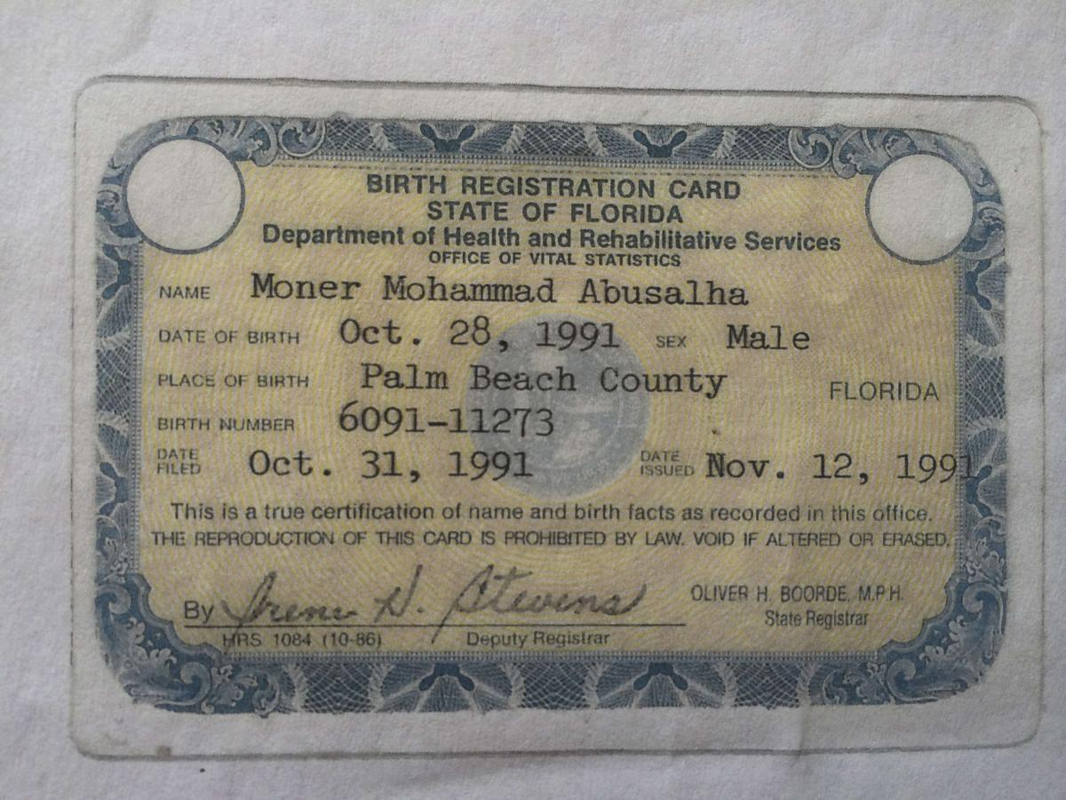 Exclusive syria bomber was florida born raised in middle class florida birth registration card for moner mohammad abu salha is seen in this government handout image reutersstate of floridahandout via reuters aiddatafo Images