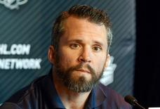 New York Rangers right wing Martin St. Louis during media day before game one of the 2014 Stanley Cup Final against the Los Angeles Kings at Staples Center. Mandatory Credit: Kirby Lee-USA TODAY Sports