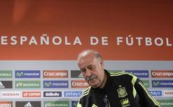 Spain's coach Vicente Del Bosque arrives for a news conference in Curitiba June 14, 2014.    REUTERS/Henry Romero (BRAZIL  - Tags: WORLD CUP SOCCER SPORT)