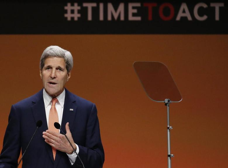 U.S. Secretary of State John Kerry speaks at a global summit on ending sexual violence in conflict, at the ExCel Centre in London June 13, 2014. REUTERS/Luke MacGregor
